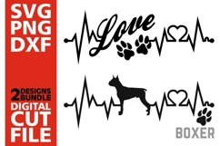 2x Boxer Bundle svg, Dog svg, EKG svg, Love svg, Heartline Product Image 1