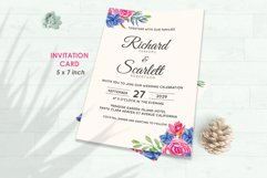 Wedding Invitation Set #8 Watercolor Floral Flower Style Product Image 2
