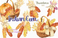 Indian Corn Watercolor Clipart, Rainbow Mix, Bi-Color, Sweet Product Image 1