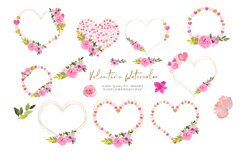 Heart Floral Pink Gold Frame Clipart, Geometric Heart Product Image 1