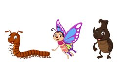 Set of Six Cartoon Insect Character Product Image 3