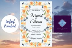 Peach and Dusk Blue Watercolor Wedding Invitation Product Image 6