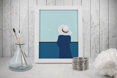 Set of illustrations, sea, girl, boat, lighthouse Product Image 1