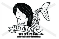 Stay Mermaid - SVG/JPG/EPS/PNG Hand Drawing Product Image 1