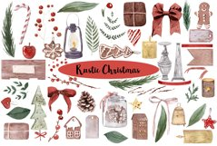 Rustic Christmas Watercolor DIY Set Hand painted Product Image 1