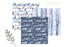 Watercolor Winter Forest Digital Papers Product Image 2