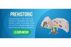 Prehistoric concept banner, isometric style Product Image 1
