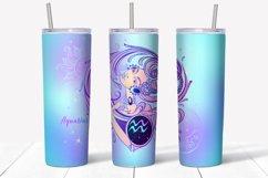 Design of zodiac sign Aquarius. Skinny tumbler wrap design. Product Image 3