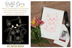 Cat, single line sketch / drawing file. Foil quill design. Product Image 1