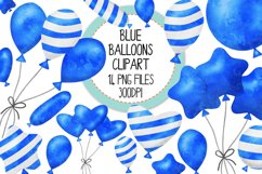 Blue Watercolor Balloon Clipart Set Product Image 1