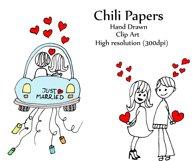 Wedding stick figure clip art Product Image 2