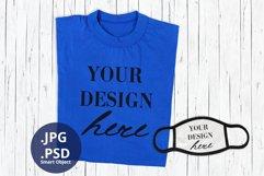 Blue T-shirt & Face Mask Mockup, Full wrap t-shirt mock up Product Image 1
