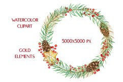 Christmas Watercolor Gold Frames Clipart Product Image 2