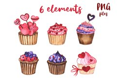 Cupcakes. Watercolor mini Set Product Image 2