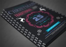 Retro Christmas Party Flyer Template Product Image 3