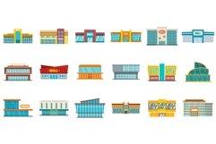 Mall icons set, flat style Product Image 1