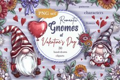 Romantic Gnomes at Valentine's Day. Hand drawing clipart. Product Image 1