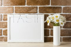 White landscape frame mockup with daisy bouquet in styled vase  Product Image 2