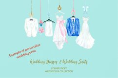 Watercolor wedding outfit on hangers and cloth hooks Product Image 6