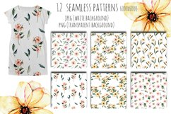 Pink watercolor flowers 12 Patterns Product Image 5