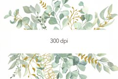Watercolor Eucalyptus Wreath Clipart. Product Image 5
