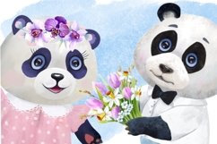 Valentines Day watercolor clipart, funny pandas Product Image 2