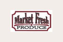 Market Fresh Produce Sign - Machine Embroidery Design Product Image 1