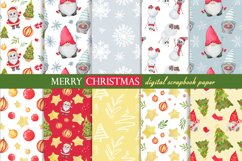 Watercolor gnome christmas seamless patterns Product Image 1