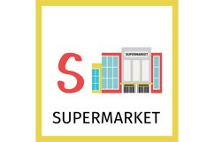 Alphabet card with supermarket building Product Image 1