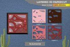 3D Papercut Beautiful Dinosaur Layered Template Product Image 1