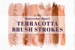 Terracotta Brush Stroke Clipart, Brown Watercolor Brush, PNG Product Image 1