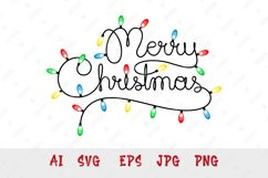 Handwritten text Merry Christmas as Christmas lights garland Product Image 1