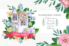 Sweet Home. Watercolor cliart Product Image 1