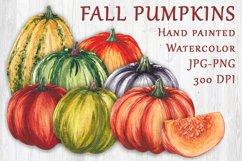 Fall watercolor pumpkins JPG PNG Product Image 1