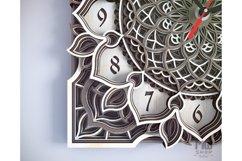 C04 - Mandala Flower Clock, Layered Clock DXF, Clock SVG Product Image 3