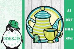 Tea cup tea pot 3D layered svg tea mandala Product Image 2
