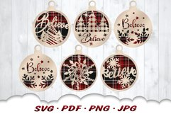 Believe Christmas Ornament SVG Bundle With Files For Cricut Product Image 1