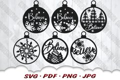 Believe Christmas Ornament SVG Bundle With Files For Cricut Product Image 2