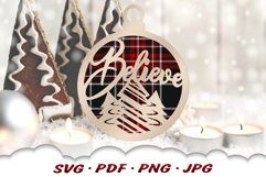 Believe Christmas Ornament SVG Bundle With Files For Cricut Product Image 3