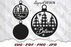 Believe Christmas Tree Ornament SVG Files For Cricut Product Image 3