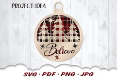 Believe Christmas Tree Ornament SVG Files For Cricut Product Image 4