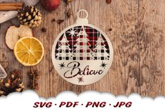 Believe Christmas Tree Ornament SVG Files For Cricut Product Image 5