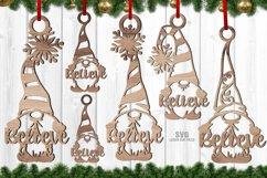 Believe Christmas Gnome Ornament SVG Glowforge Files Bundle Product Image 1