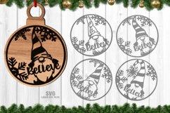 Christmas Gnome Ornament SVG Glowforge Laser Files Bundle Product Image 3