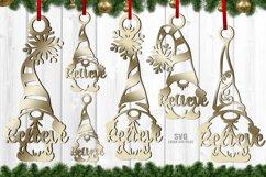 Believe Christmas Gnome Ornament SVG Glowforge Files Bundle Product Image 2