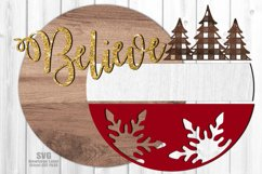Believe Plaid Tree Round Sign SVG Glowforge Laser Files Product Image 3