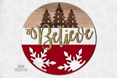Believe Plaid Tree Round Sign SVG Glowforge Laser Files Product Image 2