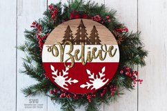 Believe Plaid Tree Round Sign SVG Glowforge Laser Files Product Image 1
