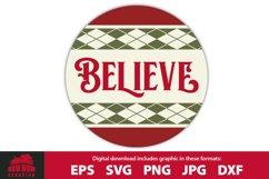 BELIEVE - Round Front Door Porch Sign Product Image 1