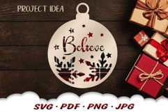Believe Christmas Ornament SVG Files For Cricut Product Image 1